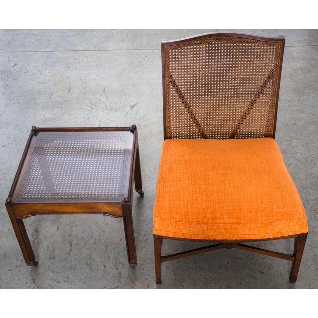 """1940s Antique """"American of Chicago"""" Mid-Century Modern Walnut & Cane Accent Chair With Side Table For Sale - Image 12 of 13"""