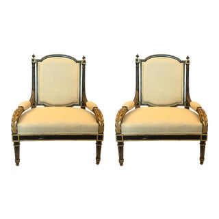 Black Finish With Gold Acanthus Leaves Straw Colored Fabric Chairs - a Pair For Sale