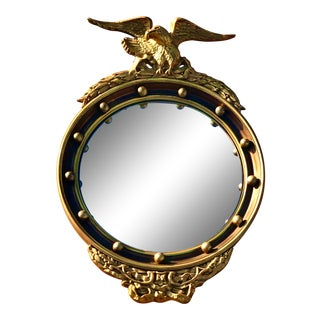 Antique Federal Giltwood Convex Mirror For Sale
