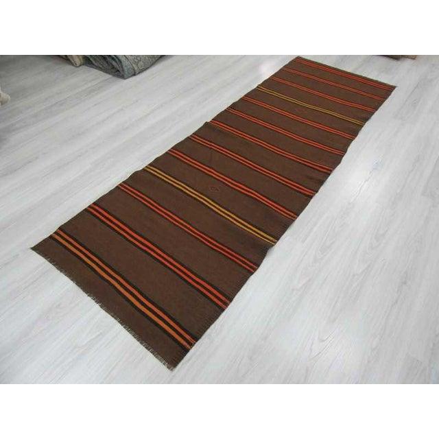 Vintage Orange & Yellow Striped Kilim Runner Rug - 3′2″ × 9′2″ For Sale - Image 5 of 6