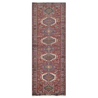 Vintage Persian Burgandy & Purple Karaje Rug - 3'2''x12'4'' For Sale