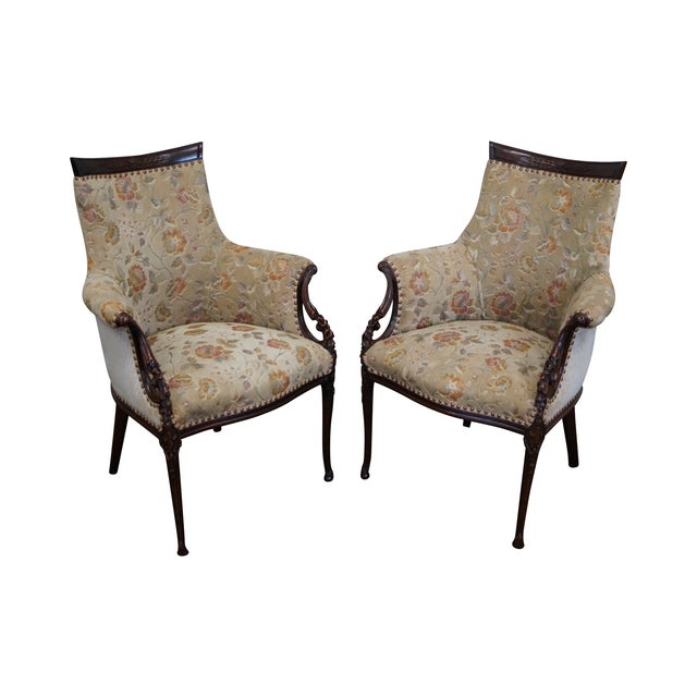 Vintage Mahogany Carved Fire Side Host Wing Chairs - Image 1 of 10