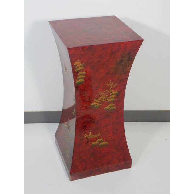 1970's Vintage Red Asian Style Pedestal For Sale - Image 13 of 13
