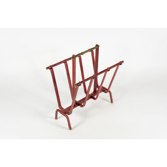 Very rare stitched leather magazine rack designed by Jacques Adnet Very good condition rare color 1950s France.