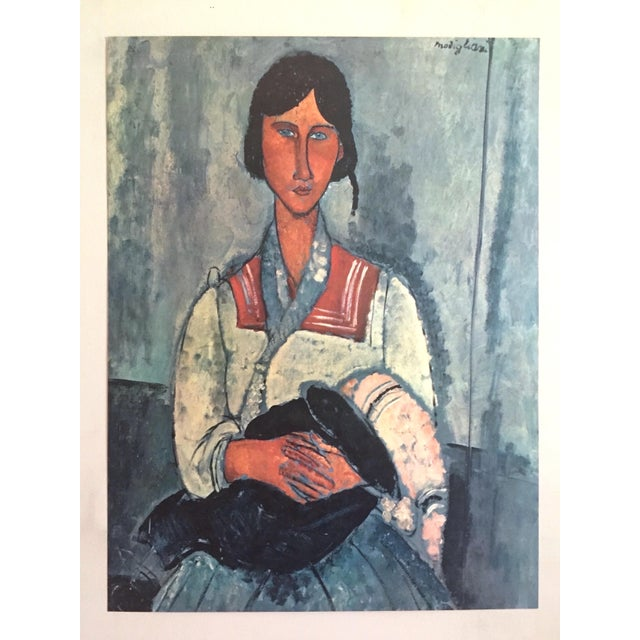 """Black Amadeo Modigliani Rare Vintage Mid Century Large Lithograph Print """" Gypsy Woman With a Baby """" 1919 For Sale - Image 8 of 10"""