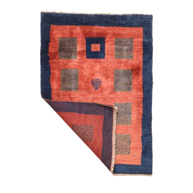 """1970's Vintage Gabbeh Shiraz Persian Rug-3'3"""" X 4'8"""" For Sale - Image 4 of 5"""