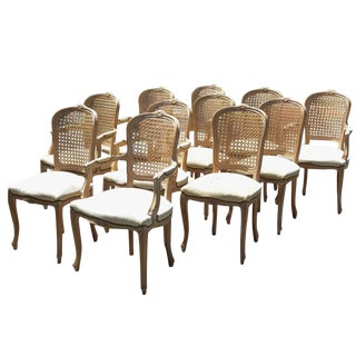 French Provincial Louis Cane Dining Chairs - Set of 9