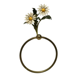 1960s Vintage Italian Daisy Tole Brass Towel Ring For Sale
