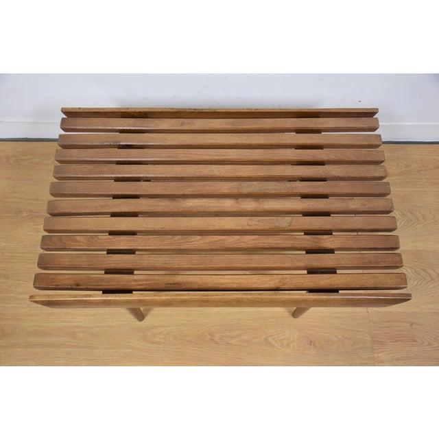 Mid-Century Modern Slatted Bench - Image 4 of 7