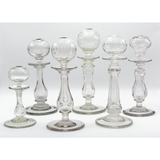 19th Century French Provençal Glass Oil Lamps - Set of 6 For Sale - Image 11 of 11