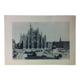 """Circa 1930 """"Piazza Del Duomo"""" Print of Milano, Italy For Sale"""