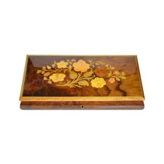 Ben Rickert Handmade Floral Wooden Inlaid Italian Music Trinket Jewelry Box For Sale