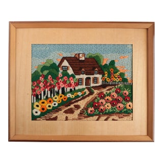 Flowery Cottage Framed and Matted Needlepoint For Sale