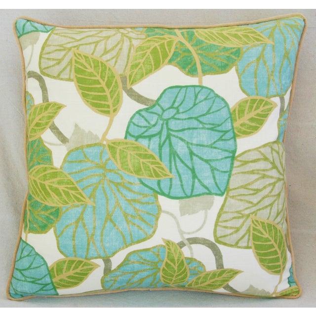 Cotton Custom Tailored Atrium Foliage Feather/Down Linen & Velvet Pillows - Pair For Sale - Image 7 of 11