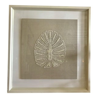 Trowbridge Large Embroidery on Neutral Taupe Muslin and Cream Frame For Sale