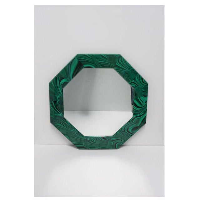A striking octagonal green malachite resin wall mirror. Mirror can hang in two different positions as show in images #1...