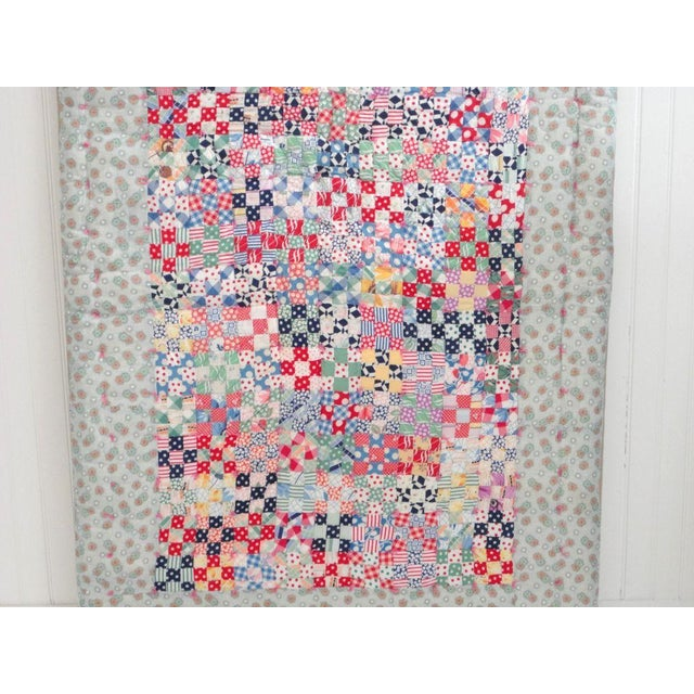 Textile Fantastic Mounted Postage Stamp Crib Quilt from Pennsylvania For Sale - Image 7 of 7