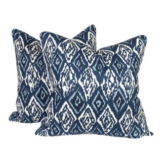 Blue Graffiti Ikat Pillows - A Pair For Sale