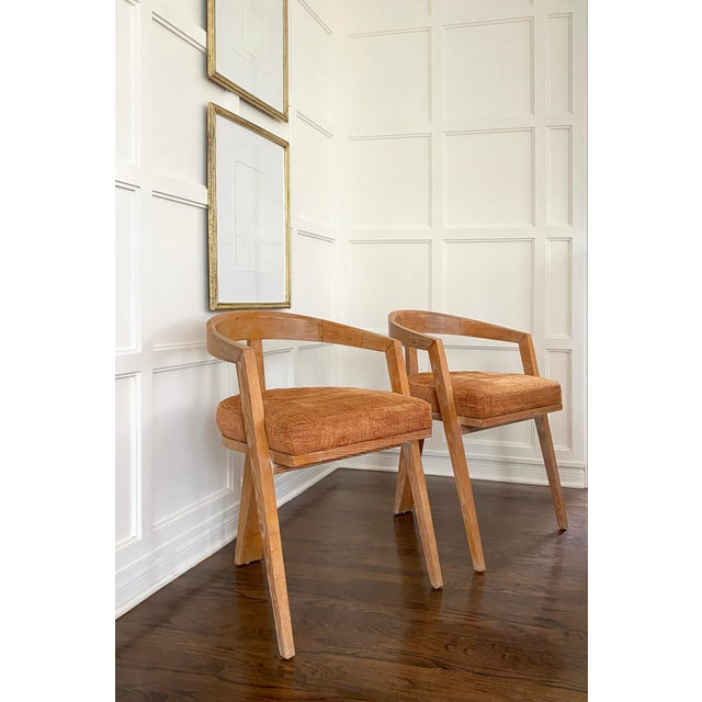 Mid-Century Modern Mid Century Modern Cerused Oak Sculptural French Chairs - a Pair For Sale - Image 3 of 11