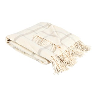 Cream & Beige Windowpane Throw