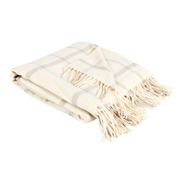 Cream & Beige Windowpane Throw For Sale