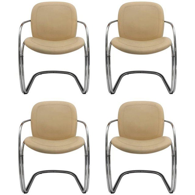 1970s Vintage Gastone Rinaldi for Rima Italian Chrome and Leather Chairs- Set of 4 For Sale - Image 11 of 11