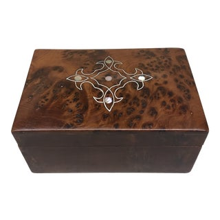 Late 20th Century Solid Burlwood and Mother of Pearl Box For Sale