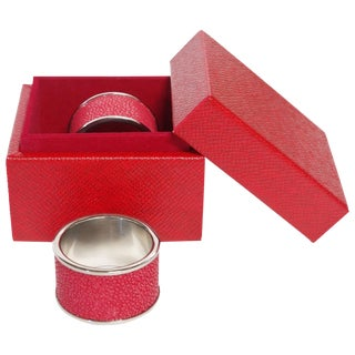 Set of Two Red Shagreen Napkin Rings by Fabio Ltd For Sale