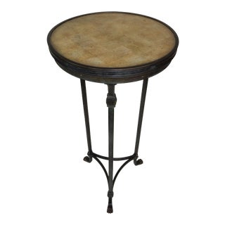 Theodore Alexander With Bronze Stand With Faux Marble Inserted Top/ Table For Sale