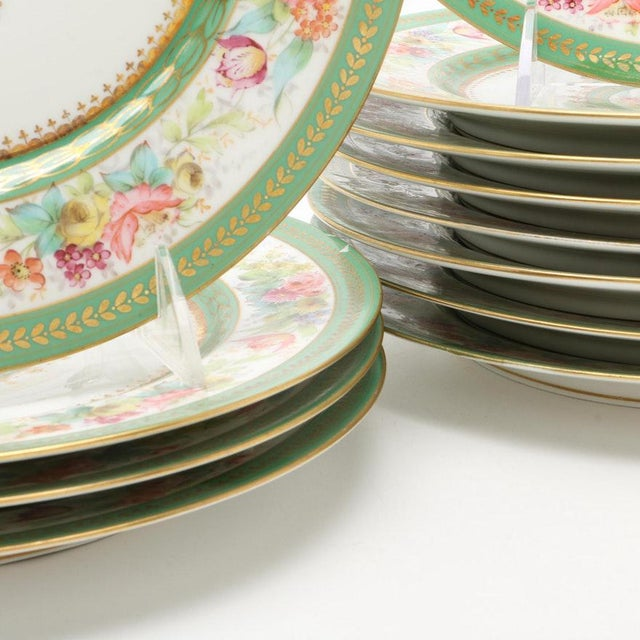 Antique C. Ahrenfeldt Limoges Dinner Plates With Hand Painted and Gilt Accents - Set of 12 For Sale - Image 4 of 13
