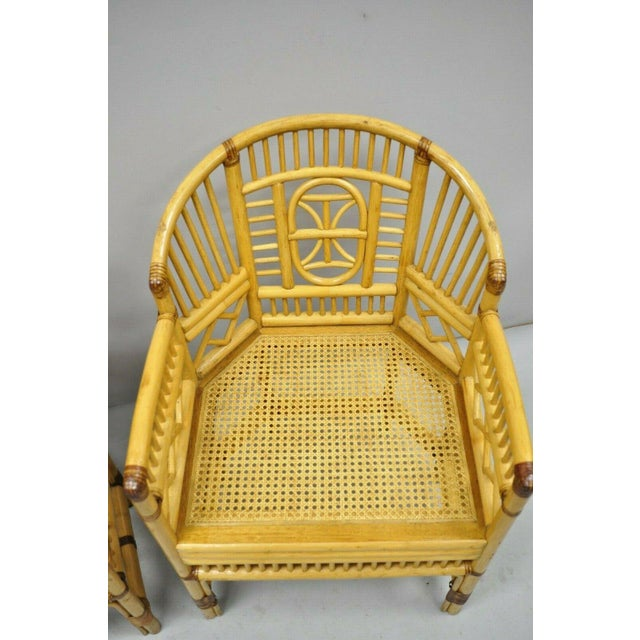 Yellow Vintage Brighton Pavilion Style Bamboo & Cane Rattan Arm Chairs- A Pair For Sale - Image 8 of 11