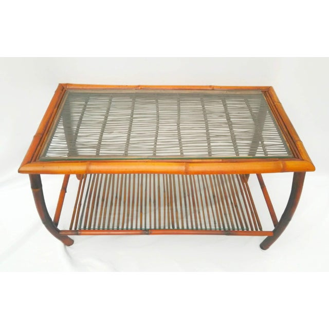 Bamboo Hollywood Regency Bamboo and Rattan Coffee Table For Sale - Image 7 of 8