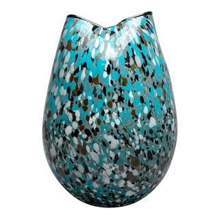 Mid-Century Turquoise Splatter Art Glass Vase For Sale