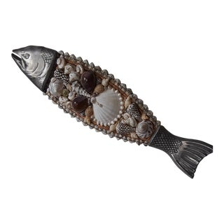 Metal, Wood and Shell Encrusted Fish For Sale