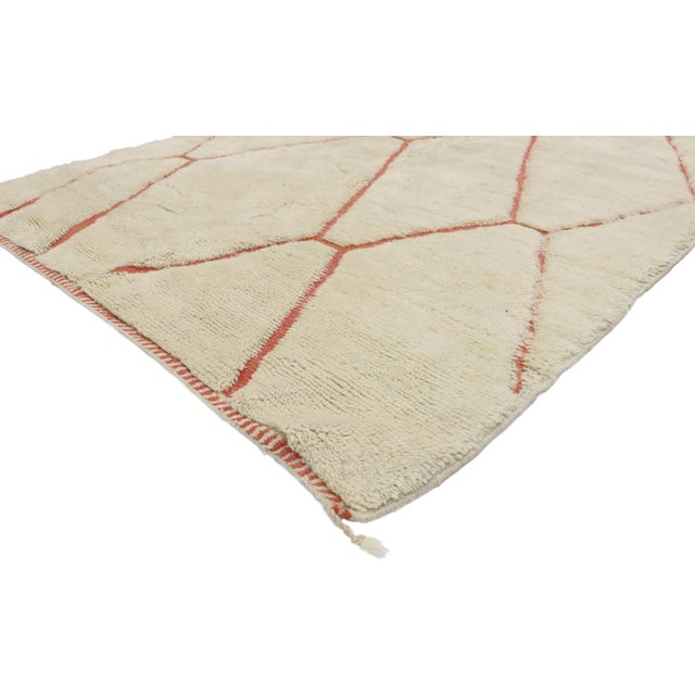 21035 Organic Modern Style Contemporary Berber Moroccan Rug with Cozy Hygge Vibes 05'05 x 07'02. This hand knotted wool...