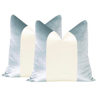 "22"" Mist Velvet & Alabaster Silk Panel Pillows - a Pair For Sale"