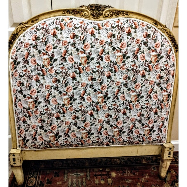 Beautifully carved wood frame that is original. Newly upholstered headboard over original batting. Unfortunatly there are...