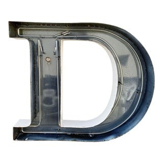 Jumbo Mid Century Channel Letter D Architectural Salvage Wall Sign For Sale