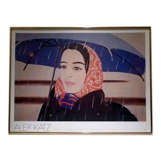 """Alex Katz """"Blue Umbrella"""" Vintage 1981 Framed Exhibition Poster For Sale"""