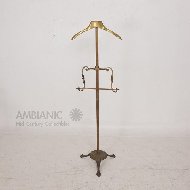 Brass Gentleman's Valet Hollywood Regency Era Coat Rack For Sale - Image 10 of 11
