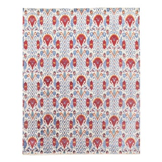 Pasargad Ivory / Multi Color Ikat Design Rug - 8'1'' X 10'1'' For Sale