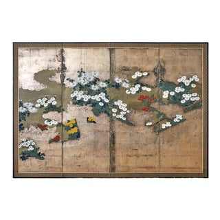 Japanese Meiji Four Panel Screen Chrysanthemums Along a Fence For Sale
