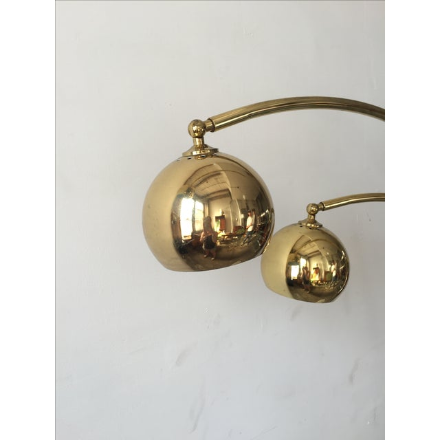 Mid-Century Brass 3 Branch Orb Lamp W/ Marble Base - Image 8 of 10