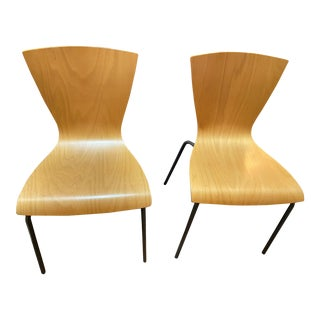 Replica Jacobsen Bentwood Beechwood Chairs With Grey Metal Legs - a Pair For Sale