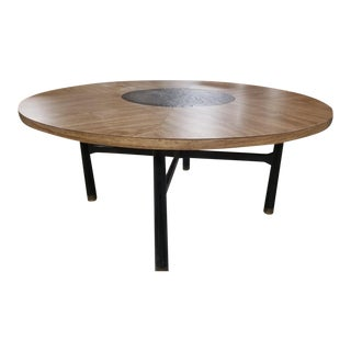 Mid Century Modern Harvey Probber Walnut With Black Marble Insert Table For Sale