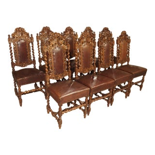 Set of 9 Antique Walnut and Leather Dining Chair For Sale