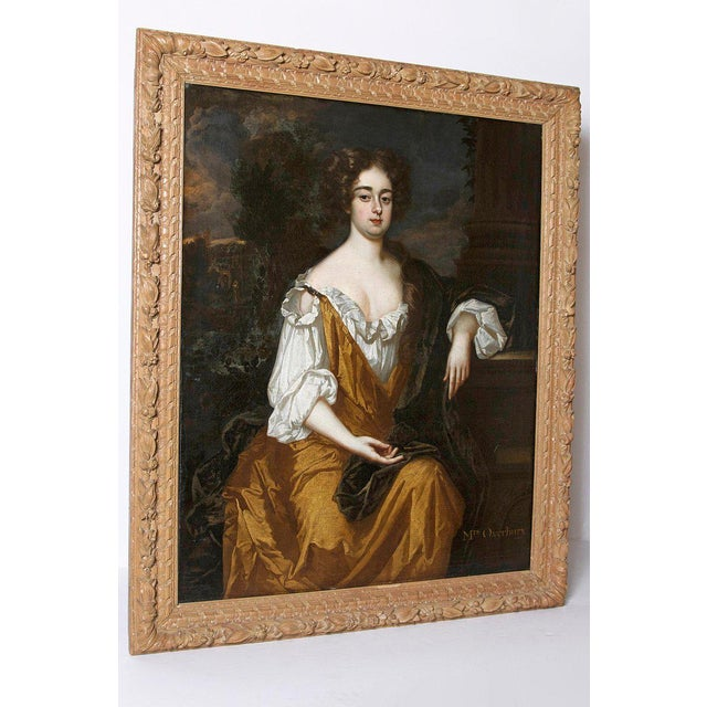 18th Century 18th Century English Portrait of Mrs. Overbury Circle of Sir Godfrey Kneller For Sale - Image 5 of 13