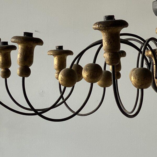 Mid-19th Century Parcel-Gilt Wood and Metal Chandeliers - A Pair For Sale - Image 4 of 9
