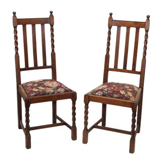 Wooden Chairs With Floral Seat & Braided Details - a Pair For Sale