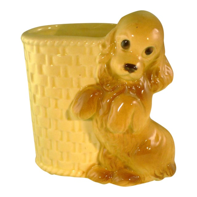 Vintage Mid-Century Ceramic Dog Planter - Image 1 of 6